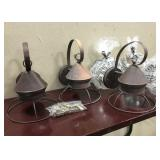 3 Lanterns w/ Glass Bulbs