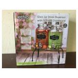 Glass Jar Dispenser With Stand & Chalkboard