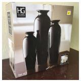 Set of 3 Ceramic Vases (Black)