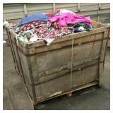 Large Wooden Box of Misc Fabrics