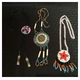 2 Beaded Indian Style Necklaces & 1 Bolo