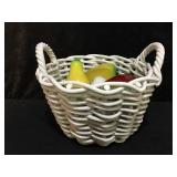Ceramic Basket with Wood Fruit