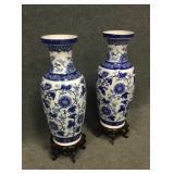 Medium Blue & White Asian Vases