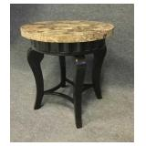 Round Marble And Metal End Table