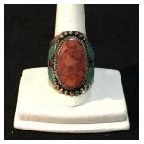 Lg. Silver and Turqoise, Coral Ring
