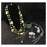 3 Strand Lime Green Statement Necklace