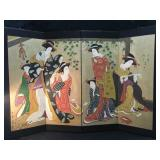 Japanese Screen Gilt with Ladies- 4 Panels