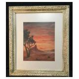 Watercolor Landscape Desert Scene Signed By Artist