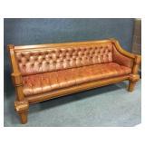 Button Tufted Leather Sofa w/ Wood Trim
