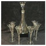 Crystal Glass Decanter With 6 Cocktail Glasses