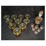 Liquor Bottle w/6 Shot Glasses, 10 Yellow Amber