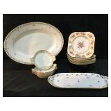 G. Ahrenfeldt Limoges Platter & 5 Deser Plates,