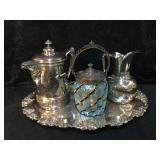 2 - Ornate Hard White Metal Coffee and Water