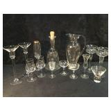 Crystal and Glass Etched Craft and Pitcher with