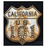California US 101 Road Sign with Reflectors,