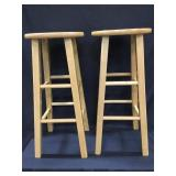 2 Wood Stools 29 In. Tall