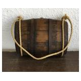 Thin Wood Whisky Barrel With Rope Handle