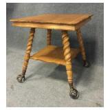 Victorian Parlour Table w/Glass Ball Claw Feet