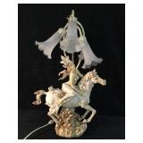 Beautiful Fairy on Horseback Lamp