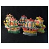 5 Ceramic Carved Pirate Ships