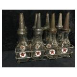 Complete 8 Pack of Texaco Oil Bottles with Lids