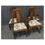 Wood Carved Padded Dining Room Chairs