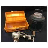 1950's Green Thermos, Vintage Orange Tackle Box,