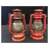 2 WingedWheel Red Kersoene Lamps No. 350