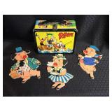 Popeye Metal Lunch Pale w/ 3 Little Pigs Pin Ups