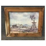 Wood Framed Old Western Town with Windmill