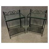 Iron End Tables with Glass Top