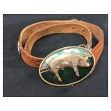 Justin Leather Belt with Pig Brass Belt