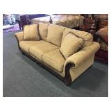 Plush Upholstered Sofa w/ Carved Wood Detail