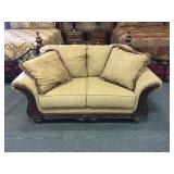 Plush Upholstered Love Seat w/ Carved Wood Detail