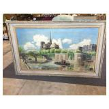 Signed Painting on Canvas of Notre Dame -