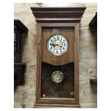 Large Oak Time Clock with Key