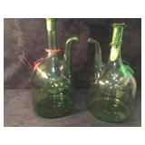 2 Vintage Blown Green Glass Wine Jug with