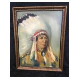 Framed Indian Chief Painting by Weinberg