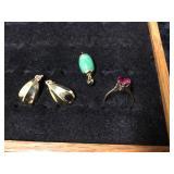 14k Gold Earrings, 10k Gold Ring & Jade Charm