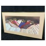 Gold Framed Picture of Indians Sleeping w/ Bankets