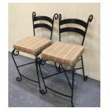 2 Metal Bar Chairs w/ Cushions