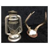 Sunlight Oil Lantern & Small Wall Antlers