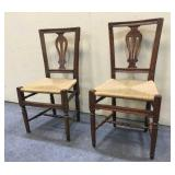 Wood Chairs w/ Wicker Seat
