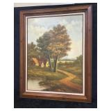 Wood Framed Oil On Canvas Painting