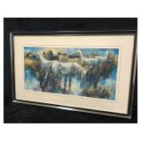 Metal Framed Oil On Canvas Painting