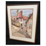 Wood Framed Watercolor Painting
