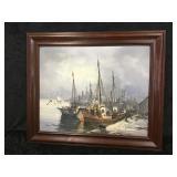 Wood Framed Oil On Canvas