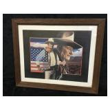 Wood Framed John Wayne Picture