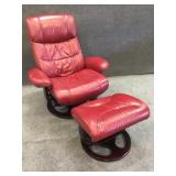 Lane Leather Adjustable Recliner and Ottoman