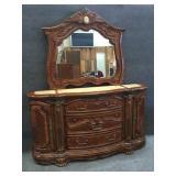 Amazing  Honey Walnut Marble Top Dresser w/Mirror